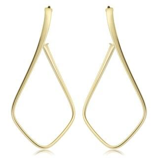 Fremada Italian 14k Yellow Gold Twist Open Hoop Earrings