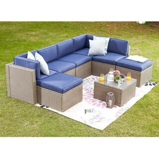 PATIO FESTIVAL ® 8 Piece Patio Sectional Sofa Set