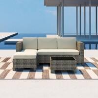 PATIO FESTIVAL ® 3 Piece Patio Sectional Sofa Set w/ Cushions