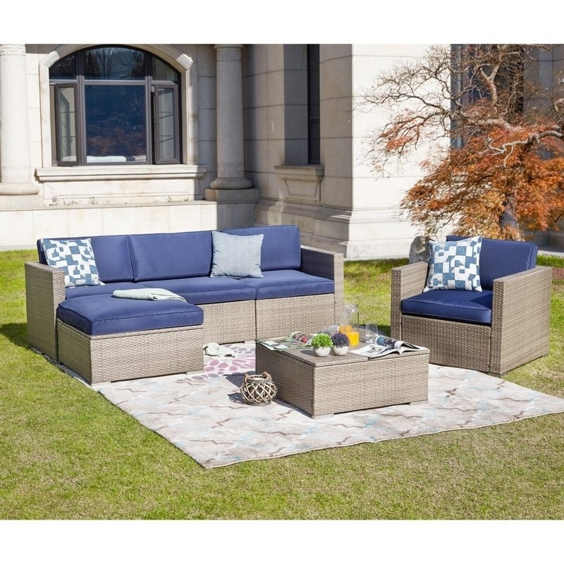 Patio Festival 6 Piece Outdoor Sectional Sofa Set W Cushions Overstock 19757256 Blue