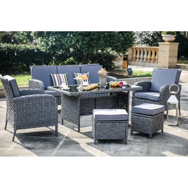 PATIO FESTIVAL ® 6 Piece Patio Conversation/ Dining Set w/ Cushions - Shop PATIO FESTIVAL ® 6 Piece Patio Conversation/ Dining Set W