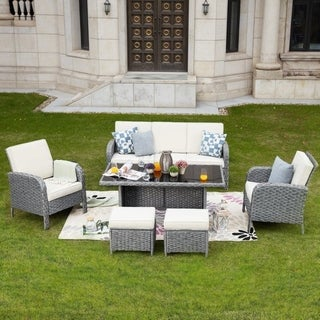 PATIO FESTIVAL 6-Piece Outdoor Conversation Dining Set with Cushions