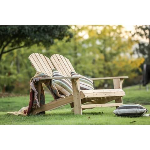 PATIO FESTIVAL Wooden Double Adirondack Chair Sofa