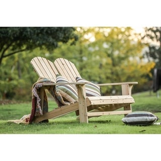 PATIO FESTIVAL ® Wooden Double Adirondack Chair Sofa
