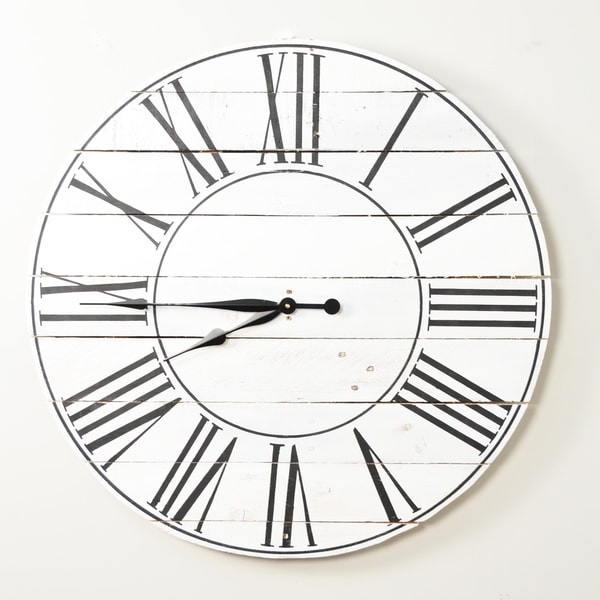 Reclaimed American Farmhouse White 30 Inch Wall Clock - 30.5 X 30.5
