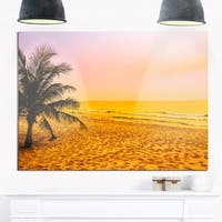 Coconut Tree Silhouette - Landscape Photography Glossy Metal Wall Art