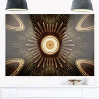 White Brown Rounded Fractal Flower - Large Floral Glossy Metal Wall Art