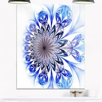 Light Blue Fractal Flower Digital Art - Large Floral Glossy Metal Wall Art