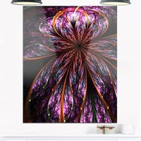Glossy Pink Blue Fractal Flower - Large Floral Glossy Metal Wall Art