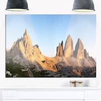 Tre Cime and Monte Paterno at Sunset - Landscape Glossy Metal Wall Art