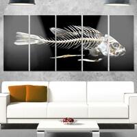 Designart Fish Skeleton Bone On Black Large Animal Metal Wall Art