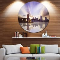Designart 'Purple Sky Over Brooklyn Bridge' Cityscape Photo Disc Metal Artwork