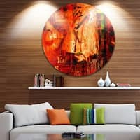 Designart 'Abstract Fire Red' Abstract Glossy Metal Wall Art