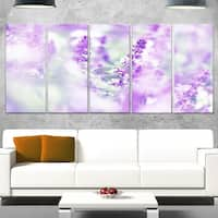 Designart 'Beautiful Purple Mint Flowers' Large Flower Glossy Metal Wall Art