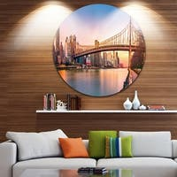 Designart 'Queenboro Bridge Panorama at Sunset' Cityscape Round Wall Art