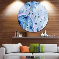Designart 'Light Blue Fractal Abstract Flower' Abstract Disc Metal Artwork