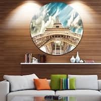 Designart 'Eiffel Tower Under Blue Sky' Photography Round Metal Wall Art
