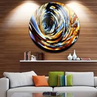Designart 'Fractal 3D Whirlwind Stripes' Abstract Art Round Metal Wall Art