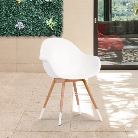 Amazonia Hawaii Deluxe White 4-piece Patio Dining Chair Set