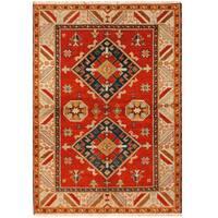 Handmade Herat Oriental Indo Hand-knotted Tribal Kazak Wool Rug - 4'8 x 6'7