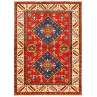 Handmade Herat Oriental Indo Hand-knotted Tribal Kazak Wool Rug (4'8 x 6'4)