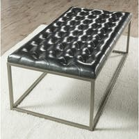 Gentry Metallic Grey Upholstered Coffee Table Ottoman by Greyson Living