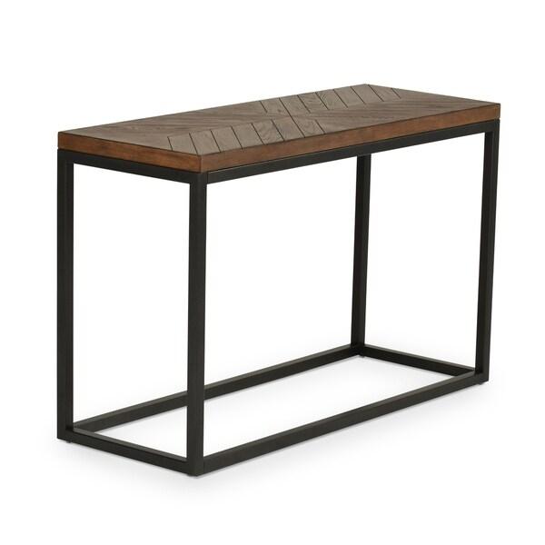 Greyson Living Arista Dark Oak Wood and Dark Charcoal Metal Sofa Table