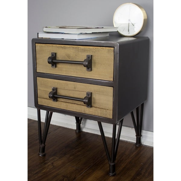 Soho Short Mid Century Wood And Metal 2 Drawer End Table