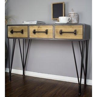 Soho Mid Century Wood and Metal 3-Drawer Console Table