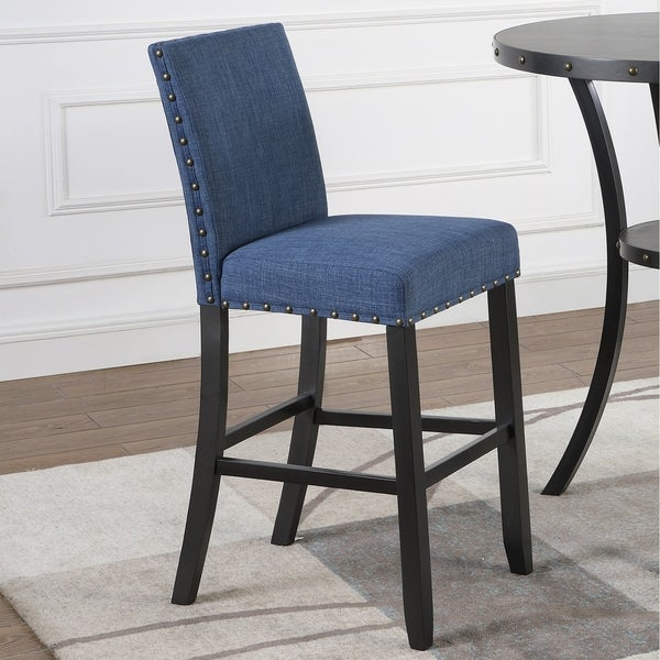 shop biony fabric bar stools with nailhead trim set of 2 free shipping today overstock. Black Bedroom Furniture Sets. Home Design Ideas