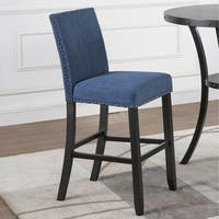 Biony Fabric Bar Stools with Nailhead Trim, Set of 2
