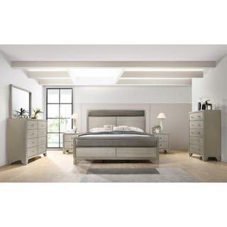 Keila Contemporary Champagne Silver Wood 6 PC Bedroom Set Queen