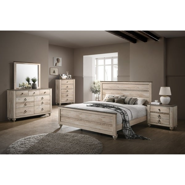 Overstock Com Bedroom Furniture: Shop Imerland Contemporary White Wash Finish 5-Piece