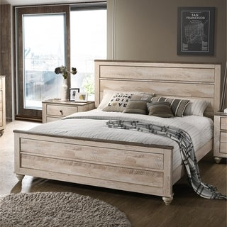 Imerland Contemporary White Wash Finish Panel Bed