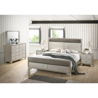 Keila Contemporary Champagne Silver Wood 5-PC Bedroom Set, King