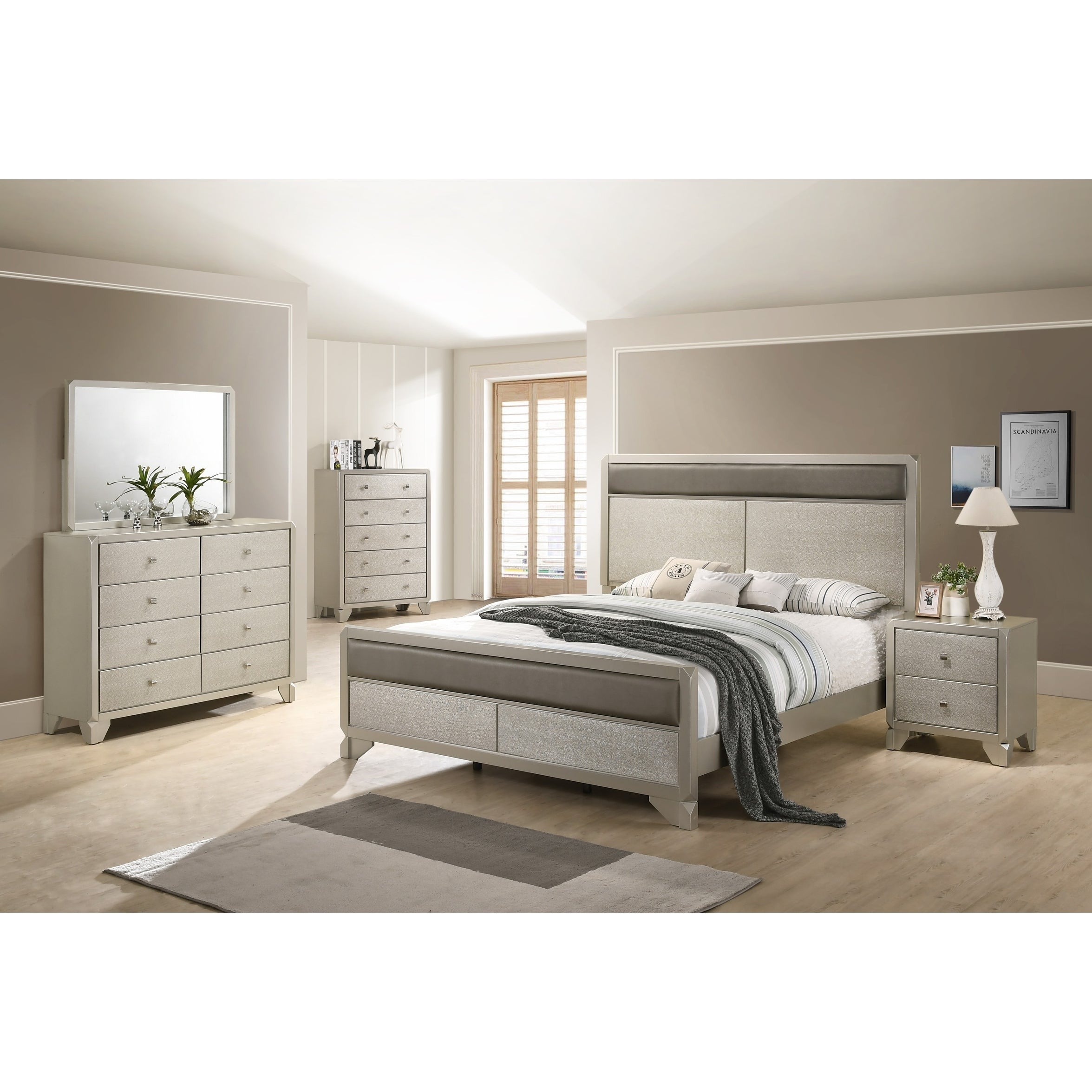 Keila Contemporary Champagne Silver Wood 5 PC Bedroom Set, Queen