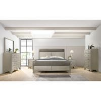 Keila Contemporary Champagne Silver Wood 6-PC Bedroom Set, King