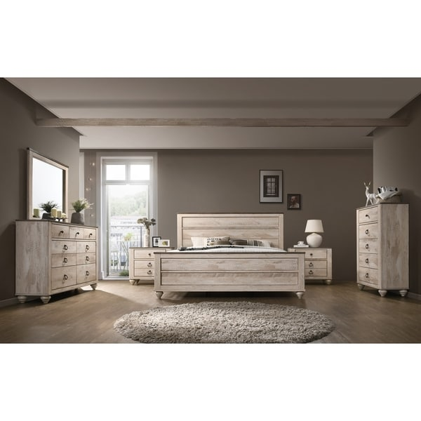 Elegant Imerland Contemporary White Wash Finish 6 Piece Bedroom Set, King