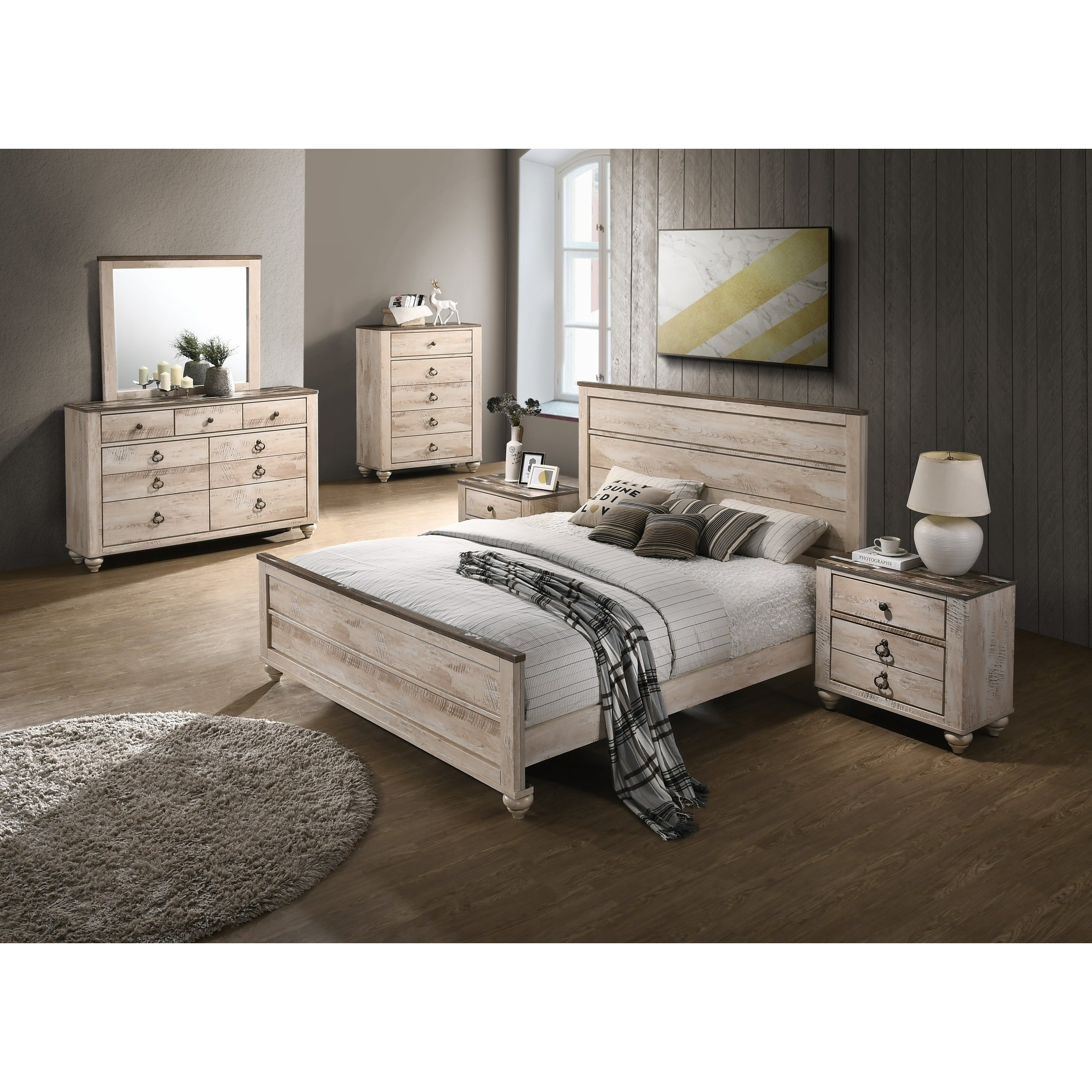 Shop Black Friday Deals On Imerland Contemporary White Wash Finish 6 Piece Bedroom Set King On Sale Overstock 19758673