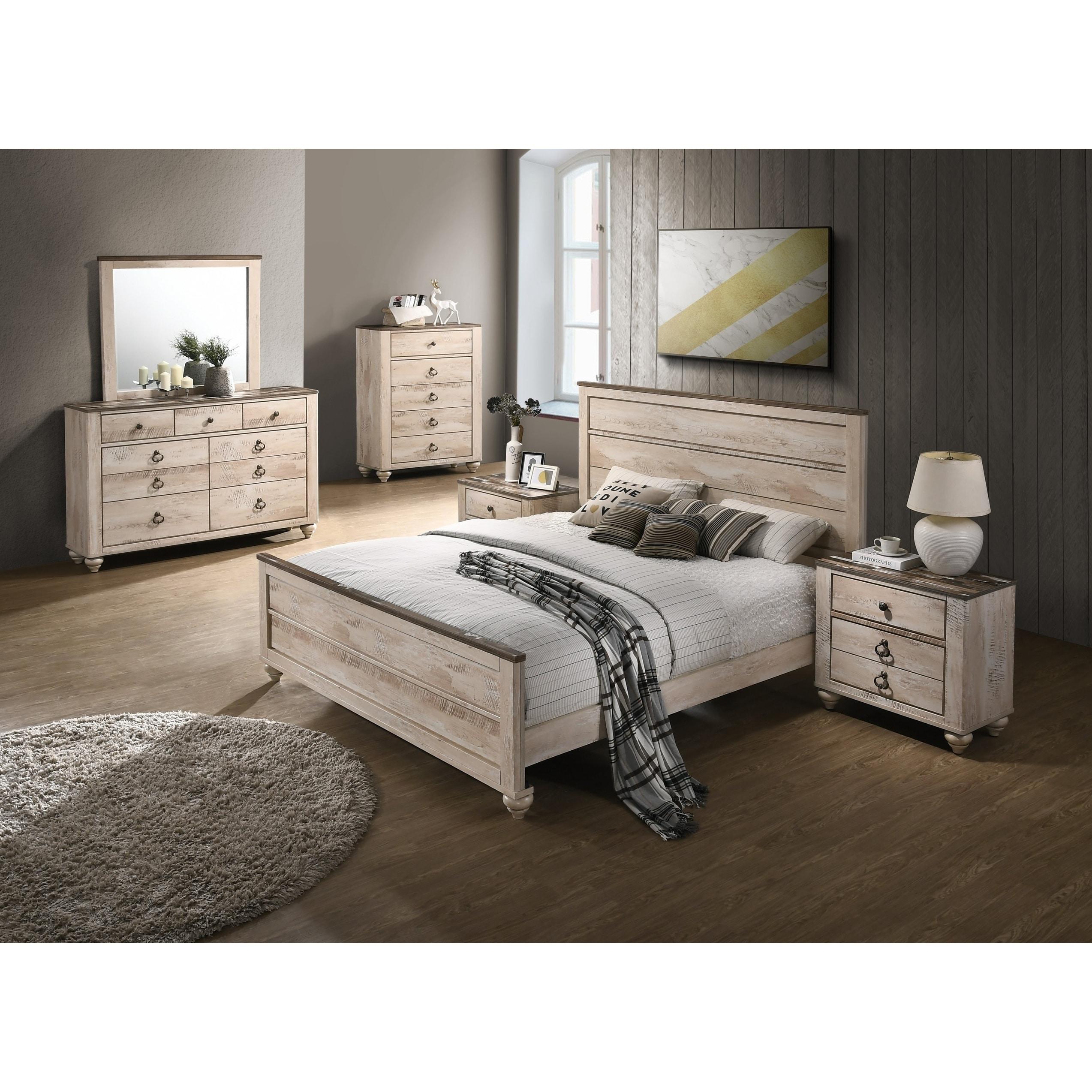 Imerland Contemporary White Wash Finish 6-Piece Bedroom Set, King
