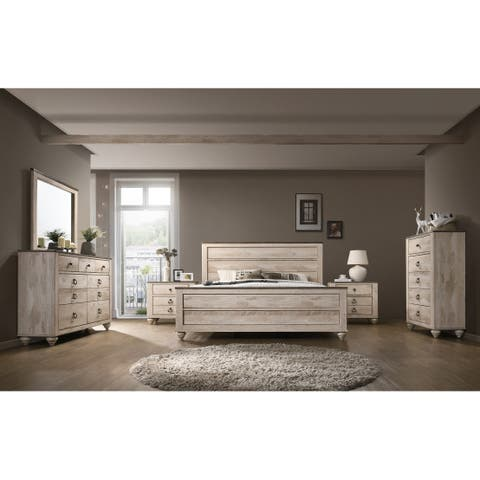 Imerland Contemporary White Wash Finish 6 Piece Bedroom Set King