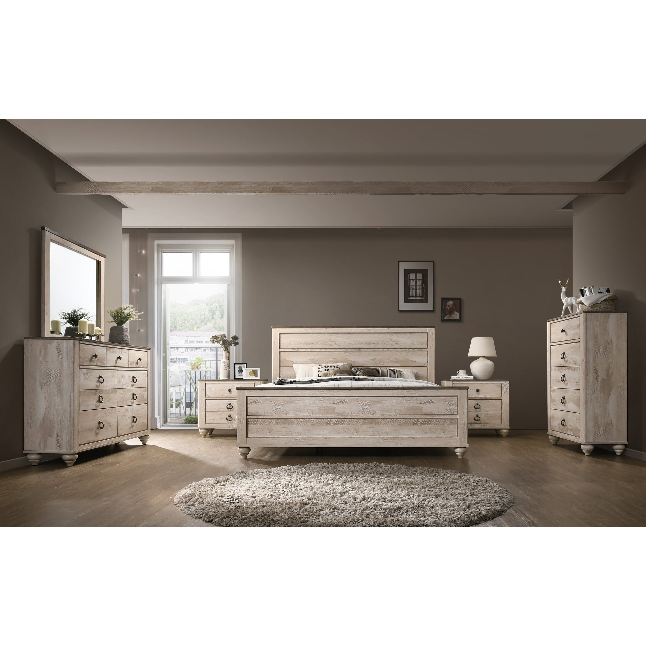 Imerland Contemporary White Wash Finish 6 Piece Bedroom Set, King