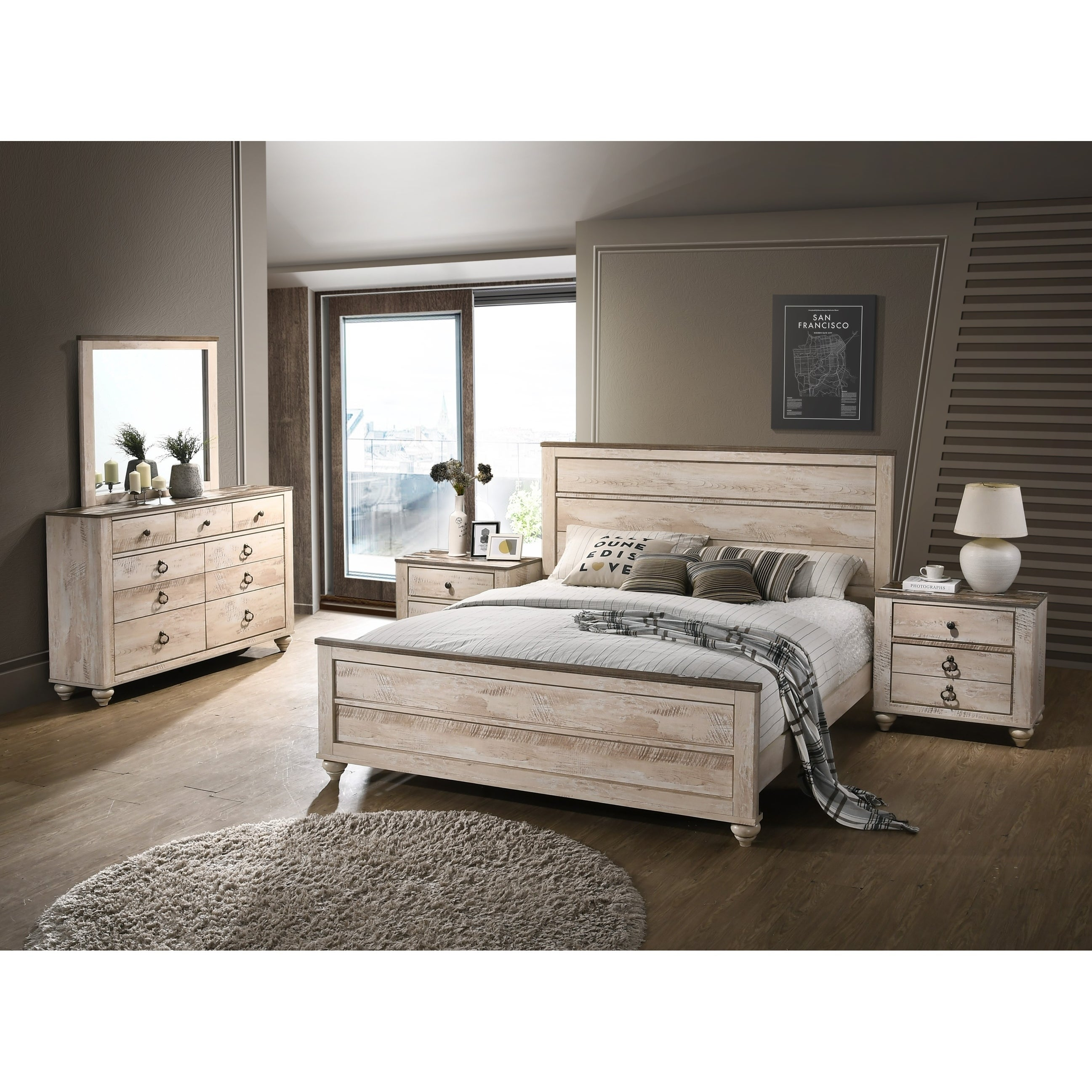Imerland Contemporary White Wash Finish 5-Piece Bedroom Set, King