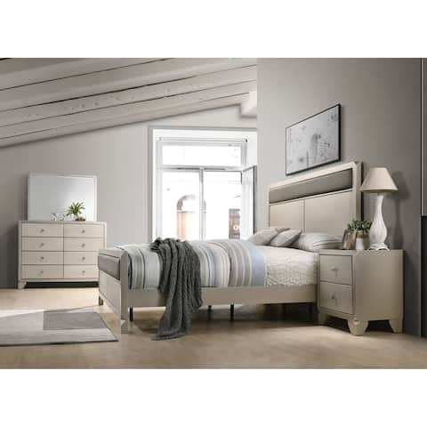 Silver Orchid Olivia Contemporary Champagne Wood 4 Piece Bedroom Set Queen