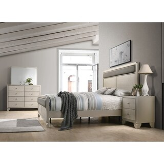 Keila Contemporary Champagne Silver Wood 4-PC Bedroom Set, Queen