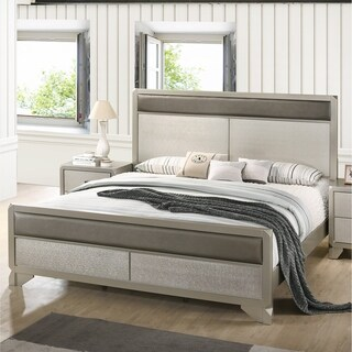 Keila Contemporary Faux Leather Upholstery Champagne Silver Wood Bed