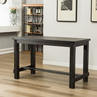 Lotusville Antique Black Rectangular Wood Counter Height Dining Table