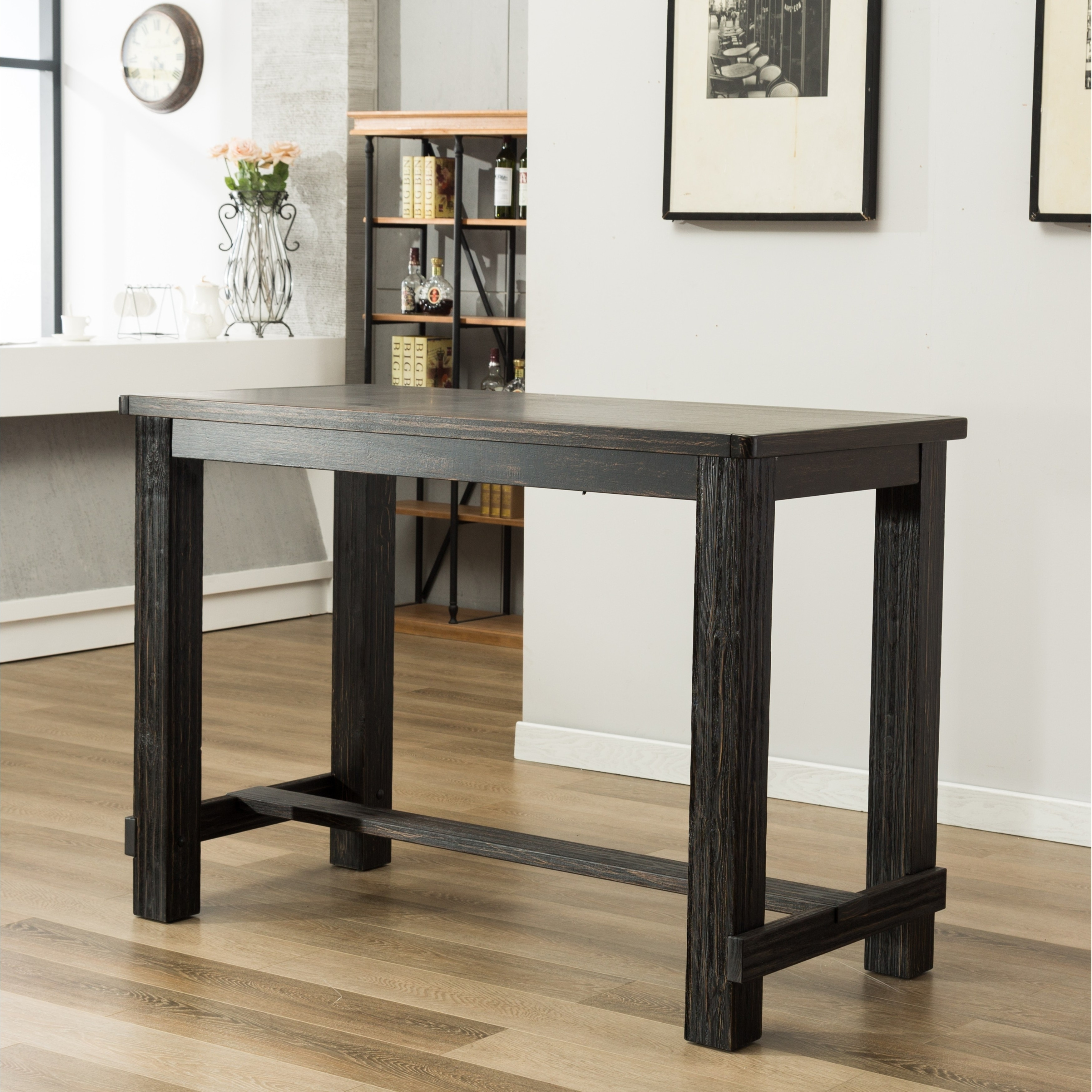 Lotusville Antique Black Rectangular Wood Bar Height Dining Table