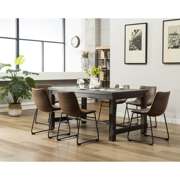 Lotusville 7 Pc Antique Black Dining Table And Faux