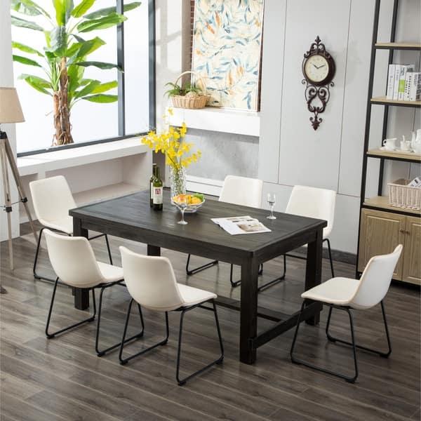 Sensational Shop Lotusville 7 Pc Antique Black Dining Table And Faux Dailytribune Chair Design For Home Dailytribuneorg